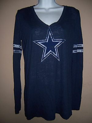 Women's Cowboys Size L -Blue Star Sheer Long Sleeve Shirt Top