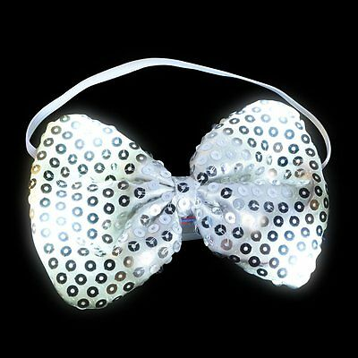 Flashing Silver Sequin Bow Tie Light Up LED Bowtie