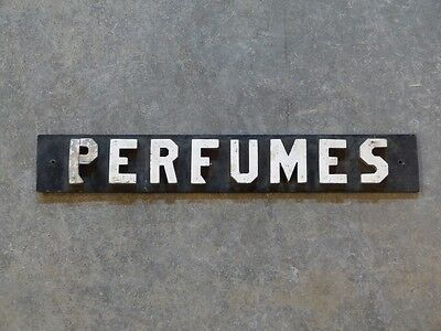 Hand Made Perfumes Sign Folk Art Wood Retail Store Display Antique Vintage