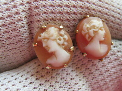 Fully Hallmarked Vintage 9Ct Yellow Gold Cameo Earrings  Post Back