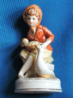 Young Girl Feeding Duck Figurine. Rare Collector's Piece !