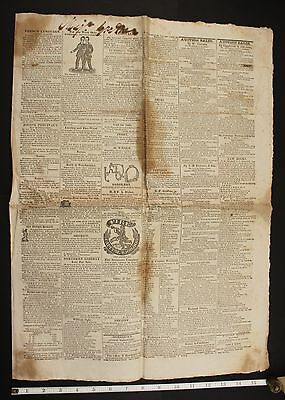 Chang & Eng Bunker Twins, 1829 1st US Tour Newspaper, ESCAPED SLAVE, Circus
