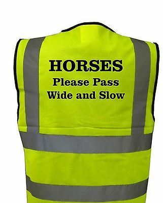 Adults Hi-Viz Printed Horses Please Pass Wide And Slow Safety Wear For Riding