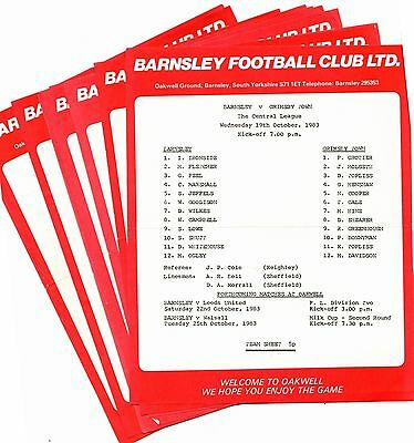 1983-1984 Barnsley Reserves Homes - select the one you want