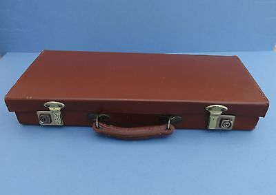 Small Vintage Leather Suitcase with Brass Catches