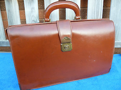 Vintage 1960's Traditional Briefcase , Brown Faux Leather , VGC.