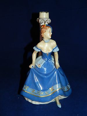 Vintage 1930's Art Deco Royal Dux lamp base figurine of lady