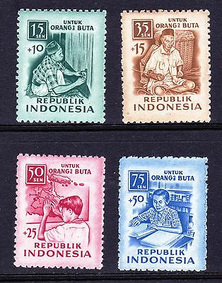 Indonesia 1956 Blind Relief Fund - Mint hinged set of 4  - (737)
