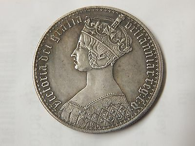 1847 Great Britian CROWN 5/- VICTORIA 'GOTHIC' TYPE RESTRIKE SILVER PLATED
