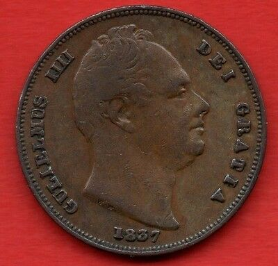 1837 COPPER FARTHING COIN OF KING WILLIAM IV. BRITANNIA REVERSE. 1/4d