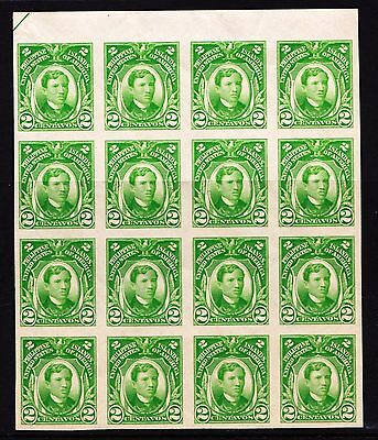 Philippines ca 1917 Imperforated José Rizal 2c value - MNH block of 16 - (655)