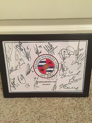 Hand Signed & Framed (x20) Reading Football Club A4 2016/17 Squad Sheet