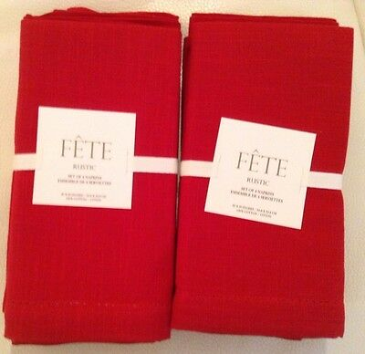 Williams Sonoma Fete Rustic Hemstitch Napkins Red Set of 8 Holiday Christmas