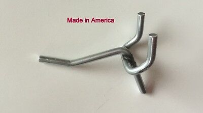 """(20 PACK) One Inch All Metal Peg Hooks For 1/8"""" to 1/4"""" Pegboard or Slatwall USA"""