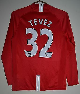Manchester United 2007/2008 Home Football Shirt Jersey Nike Long Sleeve Tevez