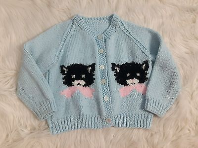 Vintage Blue Girls Hand Knit Cartigan Black/White Kitty Homemade Button Up Sweat