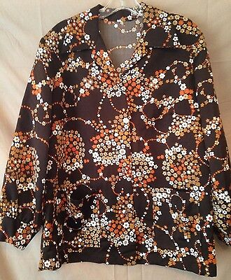 Vintage Women's HANDMADE Button Front Brown Floral Shirt Size Large