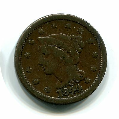 1844 Braided Hair Liberty Large Cent Penny Coin