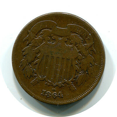1864 Shield 2 Two Cent US Coin