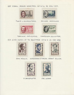 FRANCE 1957 comp.sets/issues(2 scans) incl Resistance Heros MINT NH