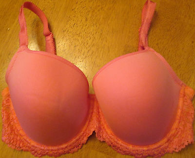 New WACOAL Embrace Scalloped Lace Underwire PEACH Lightly Padded Bra 34D - NEW