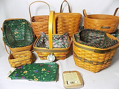 Longaberger - 11 Baskets With Inserts Liners  - 1988-2003