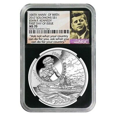 2017 1 oz Silver JFK Solomon Islands NGC MS 70 FDOI First Day of Issue (JFK Ask