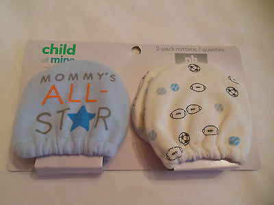 Carters Newborn Baby Mittens 2 Pair Mommy's All Star NB NEW Gift