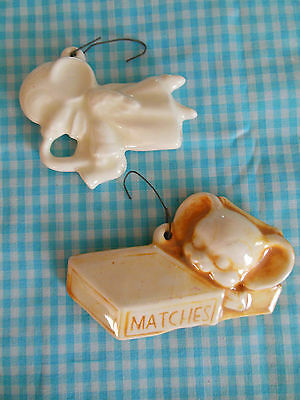 VTG Christmas Ornament Lot of 2 Ceramic Mouse Retro Gift