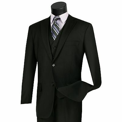 Men's Black 3 Piece 2 Button Classic-Fit Suit NEW w/ Matching Vest