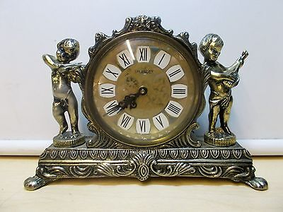 Vintage Heavy Brass Cherub Mantle clock, G.W.O..