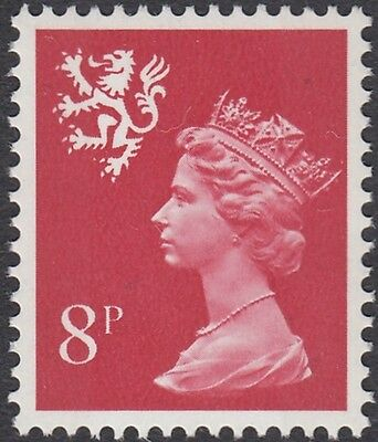 GB Stamps 1974 Scotland Machin Definitive 8p Rosine, 2 Bands, MNH, S/G S26