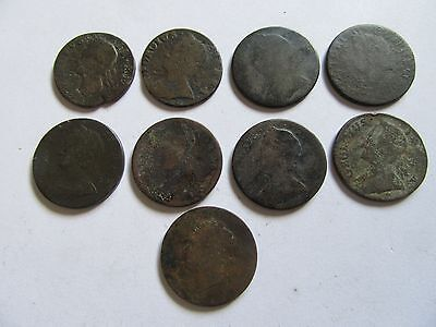 Lot Of 9 Copper Coins Great Britain (1747....)