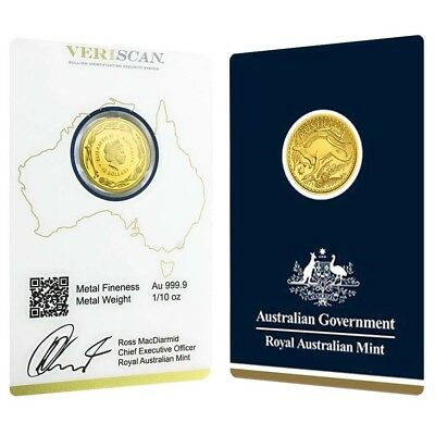 2017 1/10 oz Gold Kangaroo Coin Royal Australian Mint Veriscan .9999 Fine (In As