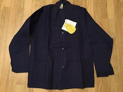 New! French work jacket Macober 100%cotton size:46 navy blue Vintage fromFrance