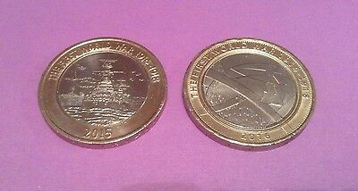 2 X 2 pound coins, The First World War, Navy and Army. Matching Pair.