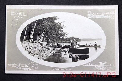 c.1906 Postcard Greeting from Enfield, Me. DARLING CAMP - Posted