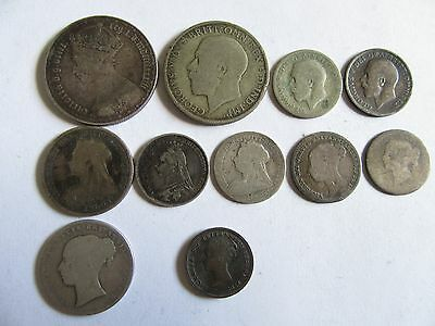 Lot Of 10 Silver, 1 Copper Coins Great Britain