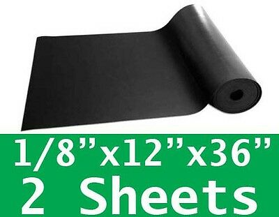 "2 SHEETS 1/8"" thick Neoprene Rubber Sheet 12"" x 36"" Long 60 Duro Black FREE SHIP"