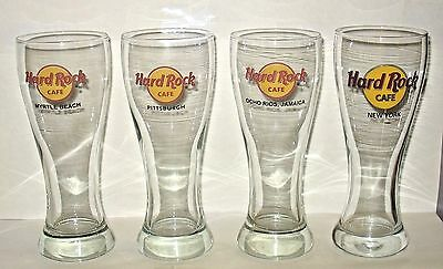 Lot 4 Hard Rock Cafe Pilsner Beer Glasses Ocho Rios Pittsburgh Myrtle Beach NY