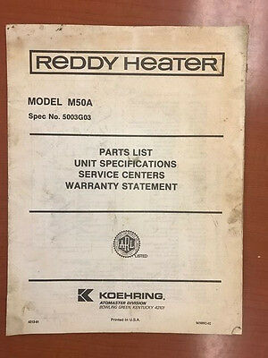 Vintage Koehring Reddy Heater Parts List Unit Specifications Service Model M50A