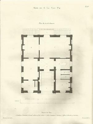 1837 Haus RUE DE LAS CASES NO 14 Paris 4 OriginalPrints Architektur Protain 1832