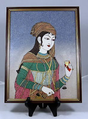 "RARE  ""Hand Made Semi-precious Gemstone Painting"" from India   EXQUISITE !"