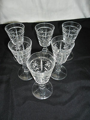 SET 6  Vintage Collectable Retro Sherry Port Quality Heavy Cut Crystal Glasses