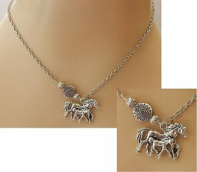 Silver Horse & Foal Pendant Necklace Jewelry Handmade NEW Adjustable Accessories