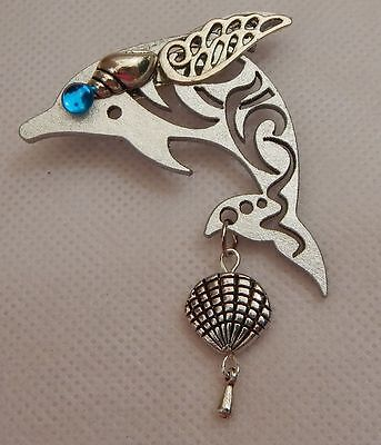 Dolphin Brooch or Scarf Pin Accessories, Jewelry Fashion Wood NEW Silver