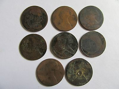 Lot Of 8 Copper Coins Great Britain