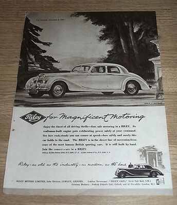 RILEY for Magnificent Motoring -  ORIGINAL ADVERT POSTER  1950 - 11 X 8 INS