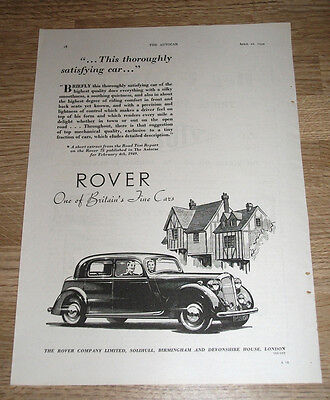 ROVER 75 - One of Britains finest cars ORIGINAL ADVERT POSTER  1949 - 11 X 8 INS