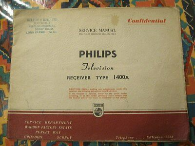 Vintage Philips 1400A projector TV Original Manual
